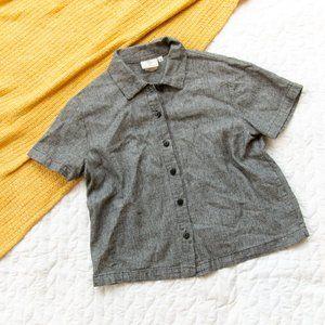 Hot Cotton •Gray Linen Blend Button Down Top
